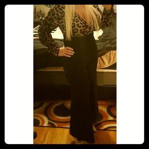 Leopard and Black Wide Leg Jumpsuit